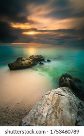 Sunset on the Mentawai beach in longexposure photography  setting