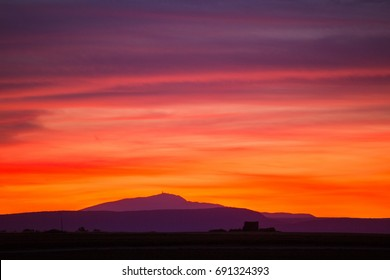 sunset on the mont Ventoux is a mountain in the provence region of southern France