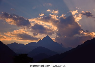 Sunset on the Monviso mountain in the Piedmont Alps