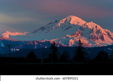 Sunset on Mount Baker creating a beautiful alpenglow