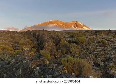 Sunset on Mount Kilimanjaro in Tanzania, Africa.