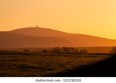 "Sunset on the mountain ""Brocken"" in the autumn"