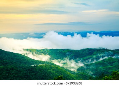 Sunset on mountain with fog after rain in Phrae Northen Thailand.