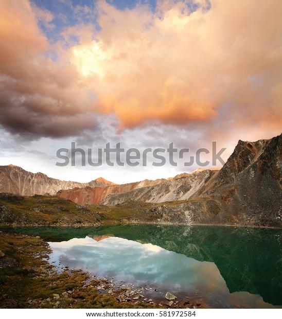 Sunset on mountain lake, Siberia