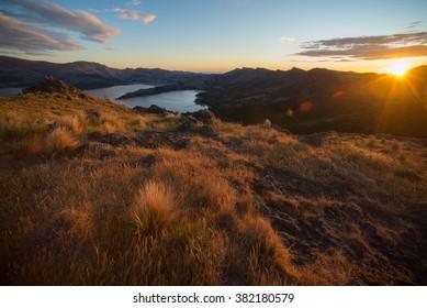 Sunset on the mountain, Port Hills, Christchurch