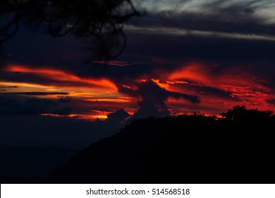 sunset on mountain in thailand