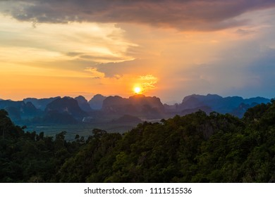Sunset on mountain Tiger cave Temple 2