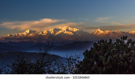 Sunset on Mt.  Kanchenjungha from Tonglu trekker's hut, Sandakphu,Singalila National Park,Himalayan trek route