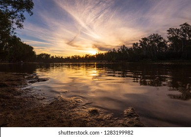 Sunset on the murray river in Echuca, Australia