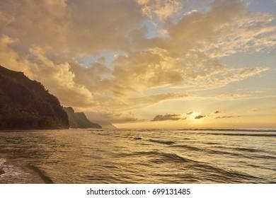 Sunset on Napali Coast, Kauai Island, Hawaii, USA