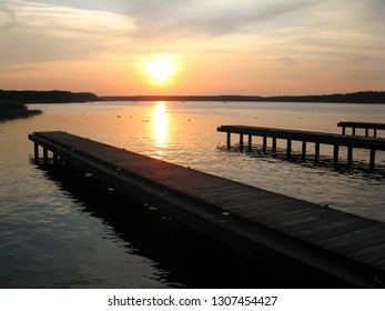 Sunset on the Necko lake in Augustow in Poland