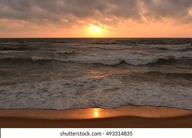 Sunset on Negombo beach, Sri Lanka