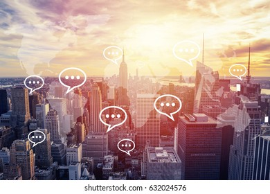 Sunset on New York with bubble chat. Social media concept