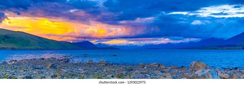 Sunset on New Zealand's Lake Tekapo