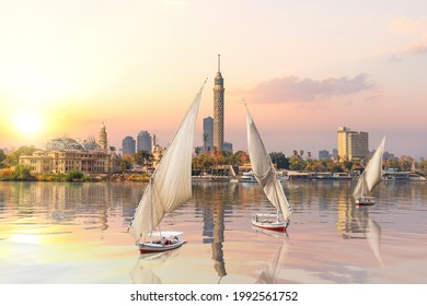 Sunset on the Nile and sailboats, Cairo, Egypt - Shutterstock ID 1992561752