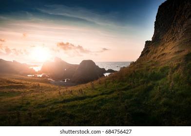 Sunset on North coastal way in Northern Ireland