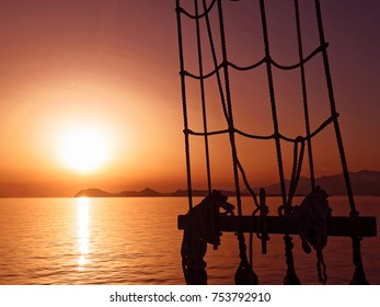 Sunset on old ship