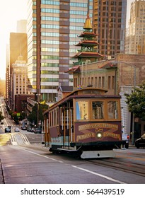 Sunset on one of San Francisco's famous cable cars, San Francisco, California
