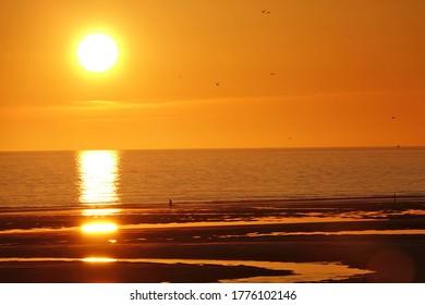 Sunset on the Opal Coast, Hardelot beach in France