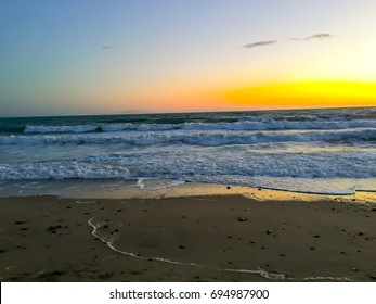 Sunset on Pacific Ocean Coast, Ventura Beach, California
