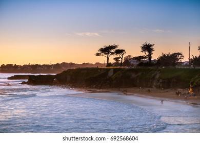 Sunset on the Pacific Ocean coastline, Santa Cruz, California