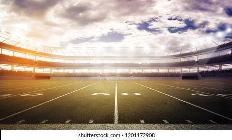 sunset on panoramic view of football stadium