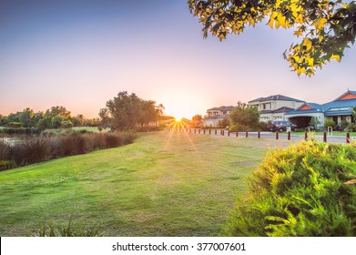 Sunset on a park with grassland in Perth