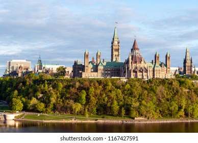 Sunset on Parliament Hill - Ottawa, Ontario, Canada. Its Gothic revival suite of buildings is the home of the Parliament of Canada.