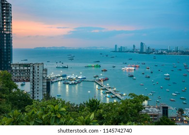 Sunset on Pattaya Bay View from Phra tam nak mountain,Pattaya city,Thailand.