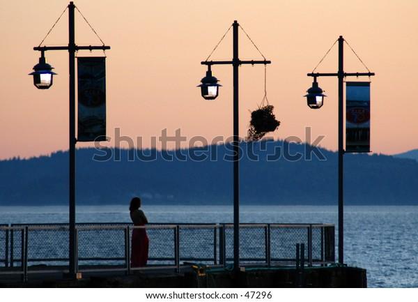 Sunset on pier