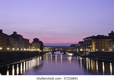 Sunset on the Ponte Vecchio in Florence, Tuscany, Italy