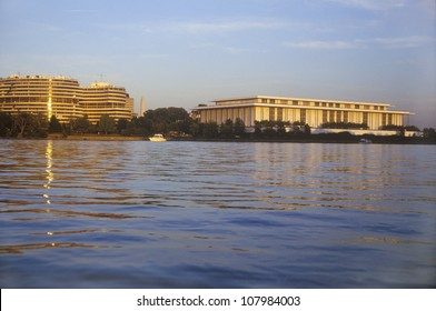 Sunset on the Potomac River and Watergate hotel and the Kennedy Center, Washington, DC