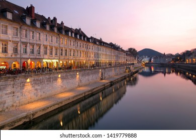 Sunset on Quai Vauban in the city of Besancon (Franche-Comte province in eastern France).