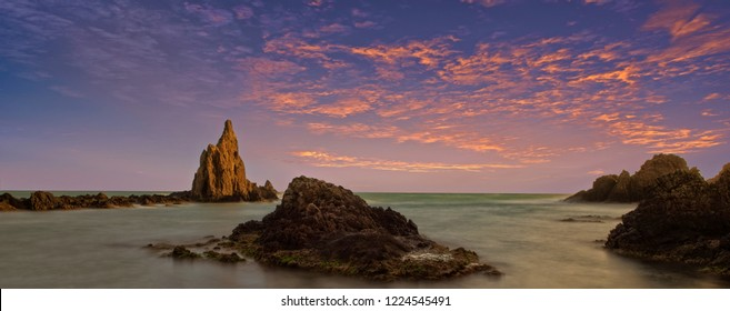 Sunset on the reef of the sirens of Cabo de Gata, Almeria, Spain
