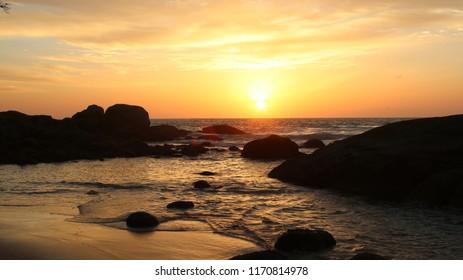 Sunset on remote beach