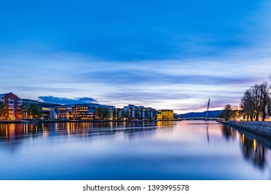 Sunset On The River Bank of Drammen