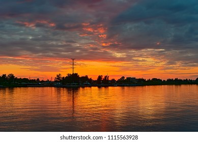 Sunset on the river Kostroma, Russia.