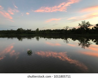 sunset on the river in summer