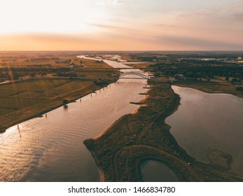 Sunset on the river viewed from the sky
