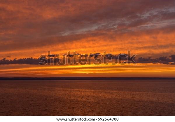 Sunset on the riverside