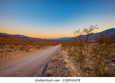 Sunset on a Road in Death Valley, California, USA