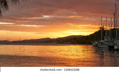 Sunset on Roatan island, Honduras