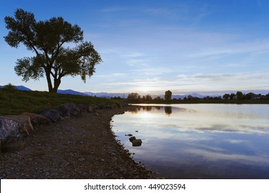 Sunset on rocky lake shore with large tree in distance, Louisville, CO