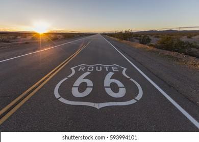 Sunset on Route 66 in the California Mojave Desert.