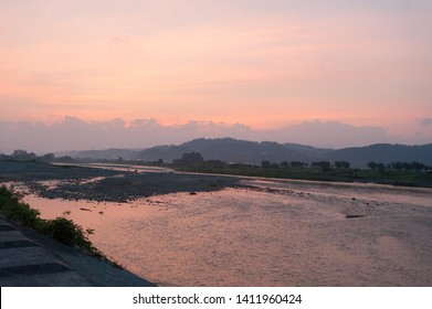 Sunset on the Sagae River in Yamagata prefecture.
