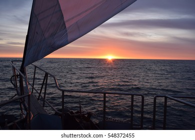 Sunset on a sailboat in New Zealand