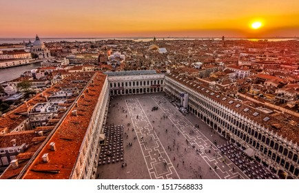 Sunset on Saint Mark's Square in Venice in Italy