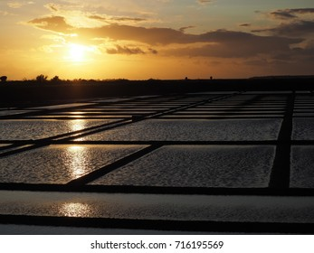 Sunset on salt pans