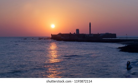 Sunset on San Sebastian Castle Cadiz Spain