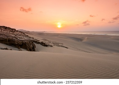 Sunset on sand dunes  in Chaves beach Praia de Chaves in Boavista Cape Verde - Cabo Verde